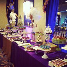 Aladdin / Jasmine themed birthday party.  Decor ideas.  Backdrop. mardi gras party ideas   Mardi Gras Dessert Table LOVEinc Dessert Styling   Party Ideas