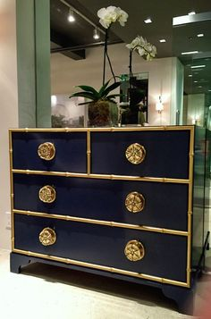 02_kindel-furniture-pinwheel-chest.  Gorgeous entryway piece by Eric Cohler for Kindel Furniture.  In navy with gold accents.
