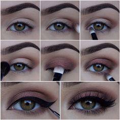 A more intense nude pink eyeshadow look with some winged eyeliner