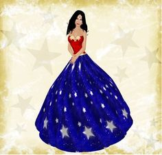 Second Life Marketplace - NuYuu Designs - Wonder Woman Ball Gown Combo