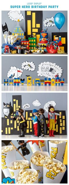 Is it a bird? Is it a plane? It's a LEGO DUPLO superhero birthday party, that's what! Find tips and instructions for throwing your own superhero birthday party here: Avengers Birthday, Batman Birthday, Lego Birthday Party, 4th Birthday Parties, Birthday Party Decorations, Birthday Ideas, 5th Birthday, Super Hero Birthday, Superhero Backdrop