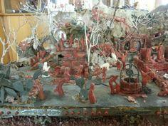 Natavity Scene in coral by artist Platimiro Fiorenza from Trapani, Sicily
