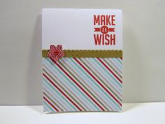 """""""Make a Wish"""", Fresh Prints DSP, Whisper White, Crumb Cake, Petite Petals, Border Dotted Scallop Ribbon Punch, Real Red Classic Ink"""