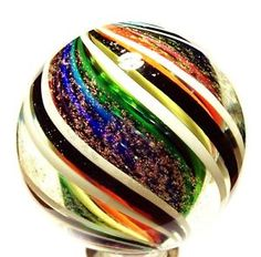 "EDDIE SEESE GLASS 2-7/16"" RAINBOW SOLID CORE DICHROIC DOUBLE TWIST MARBLE♡"