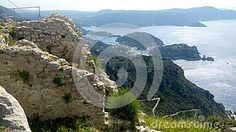 Taken in springtime from the hilltop of Angelocastro, (the Castle of the Angel) a Byzantine castle looking down over over Paleocastritsa, on the Ionian Sea at Corfu, Greece.