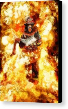 Heroic Firefighter Art Print by Christopher Lane Wildland Firefighter, Volunteer Firefighter, Firefighter Photography, Firefighter Pictures, Fire Tattoo, Canvas Art, Canvas Prints, Fathers Day Crafts, Fire Dept