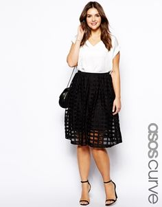 ASOS CURVE Midi Skirt In Sheer Check