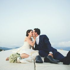#kiss #boat #sea #wedding #groom #flowers #blue #truelove
