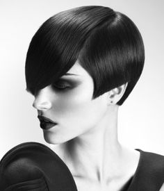 A short black straight hairstyle by HOB Salons