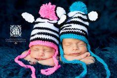 Crochet Zebra Hats