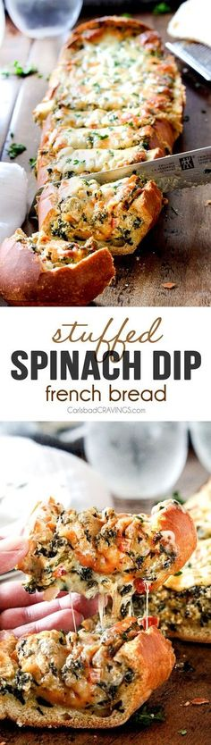 No need to make dip separate from the appetizer itself - this Spinach Dip Stuffed French Bread will cover all your bases. And if you're not careful... it could make you want to skip dinner altogether!