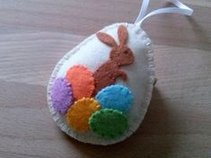 Felt easter decoration - felt egg with bunny  Listing is for 1 ornament  Handmade from wool felt  Size of my decorated eggs is about 2 1/8 x 2 5/8