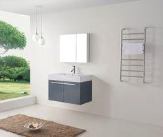 """36"""" Virtu Midori JS-50136-GR Single Sink Bathroom Vanity - Grey #Virtu #HomeRemodel #BathroomRemodel #BlondyBathHome #BathroomVanity"""