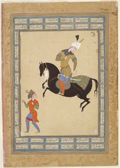 Horseman and Running Page (painting, verso; calligraphy, recto), folio from an album Attributed to Qadimi, Persian (active 16th century)  Iran, Mashhad 1560