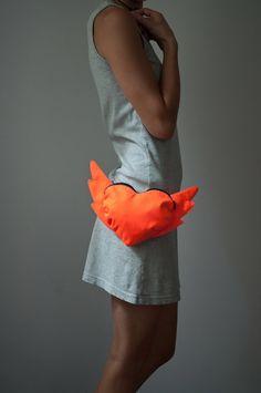 Neon Orange Belt Bag Purse Hip Bag Street Fashion Kawaii by Marewo, $38.00