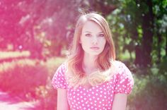 The Lovely Darlings: 100 posts, 101 dots, portrait, blonde, ombre hair, pink, dots