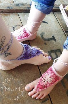 Ravelry: Boho Barefoot Sandles pattern by Melanie Grobler Half Double Crochet, Single Crochet, Barefoot Sandals Pattern, Crochet Sandals, Bare Foot Sandals, My Little Girl, Vintage Crochet, Crochet Clothes, Clothing Items