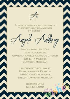 Boys First Communion Invitation by LittleWishesDesign on Etsy, $10.00
