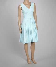Aryeh Aqua Dots Surplice Dress | zulily