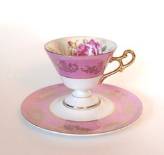 Pink Lusterware Footed Pedestal LM Royal Halsey Teacup by HouseofLucien, $35.00