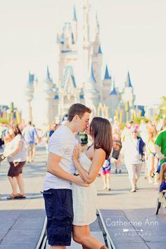 Love sans the Mickey ears--Disney World Engagement Session at Magic Kingdom   Tampa Modern-Vintage Wedding Photographer