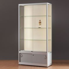 Large Illuminated Display Cabinets with full LED illumination across the entire cabinet with an optional storage case at the bottom of the unit. Perfect for museum displays, art gallery displays, school presentation cabinets and more. Display Cabinets, Museum Displays, Clear Perspex, Photo Picture Frames, Grey Wood, Strip Lighting, Display Case, Adjustable Shelving