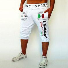 Mens Short Knee-length Sweatpants Cotton Crop Pants Y1194