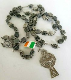 Connemara Marble Bead Silver Tone Rosary Made In Ireland Tag Erin Crucifix Religious Gifts, Religious Jewelry, St Benedict Cross, Celtic Green, Connemara, Stainless Steel Necklace, Crucifix, Ireland, Marble