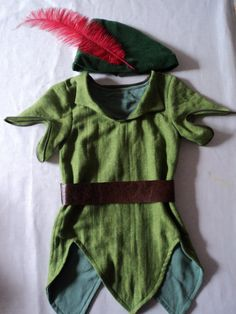 Peter Pan tunic and feathered cap by PenelopesCostumes on Etsy, $80.00