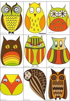 owls to create tags, cards, stickers and magnets - oval for shape discrimation