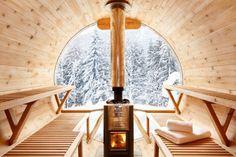Views from exterior sauna @ Marmotte Mountain Retreat Chalet. Available for winter catering 2018 Diy Sauna, Sauna House, Sauna Room, Design Sauna, Sauna Wellness, Barrel Sauna, Outdoor Sauna, Finnish Sauna, Small Pools