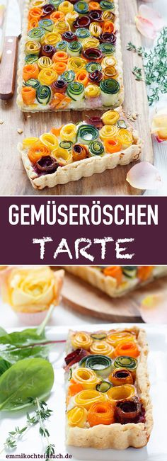 Gemüseröschen Tarte – so sommerlich und bunt – emmikochteinfach Vegetable florets tart The quick and easy recipe. The perfect eye catcher for family or your guests # Vegetable tarte Grilling Recipes, Cooking Recipes, Healthy Recipes, Quiches, Vegetable Tart, Salty Foods, Vegan Breakfast Recipes, Quick Easy Meals, Soul Food