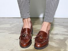 Tassel loafers, houndstooth pants