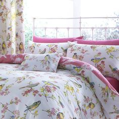 Tropical White Pink Multi Printed Cotton Rich Duvet Set Spring Bedlinen