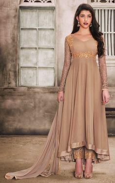 Women s Clothing - Festival Wear Chickoo Georgette Anarkali Suit - - PRODUCT Details : Style : Semi-Stitched Party Wear Long Anarkali SuitDefault Size : Free Size Long Anarkali, Anarkali Dress, Anarkali Suits, Lehenga Choli, Indian Anarkali, Indian Saris, Indian Salwar Kameez, Salwar Kameez Online, Designer Anarkali