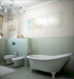 clawfoot tub ~ http://www.homedit.com/17-small-bathroom-ideas-pictures/