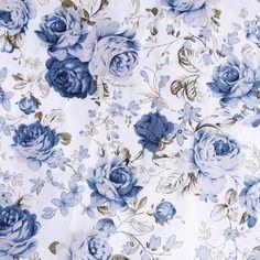 Tissu fleuri bleu en coton fond blanc  50 x 45 cm
