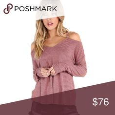 Cold Shoulder High Low Lightweight Waffle Knit Top ❌ Sorry, no trades.  fairlygirly fairlygirly Tops