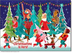 Christmas Tree Shopping Cards Christmastime is here! On our Christmas Tree Shopping Cards this happy crowd shares the joy of the season as they visit the tree lot to pick out their best Christmas tree ever. A vintage illustration style from the 1960s.  8 cards & envelopes $12.00