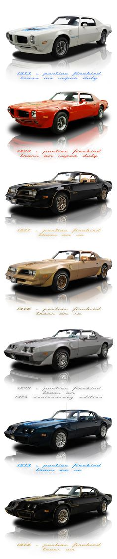 Pontiac Firebird Evolution 70s- My momma had the blue one that she bought new!