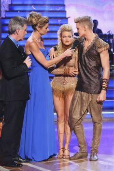 Cody Simpson and Witney Carson react to being eliminated on week 5 of 'Dancing With The Stars' season 18 -- Disney Night -- on April 14, 2014.