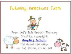 Let's Talk Speech Therapy: 300 Freebie #4-Following Directions Farm