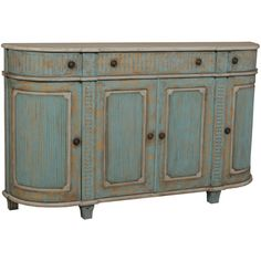 Aqua Blue Cottage Demilune Sideboard (3,970 CAD) ❤ liked on Polyvore featuring home, furniture, storage & shelves, sideboards, decor, мебель, hand carved furniture, hardware furniture, dvd furniture and colored furniture