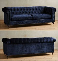 Oversized chesterfield sofa in richly-hued navy blue velvet upholstery. Features tufted back, removable cushion, hardwood frame for sturdiness, and turned wood legs in espresso finish. This beautiful sofa will compliment any living room decor but will stand out most in contemporary, modern, or Hollywood regency-inspired living room or interior design.