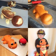 Charmander and Pokeball cakes
