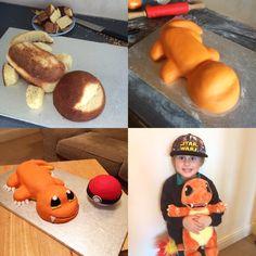 Charmander and Pokeball cakes