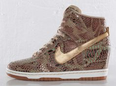 Sneaker wedge obsession!!!! Snakeskin Nike Dunk Sky Hi Wedges.