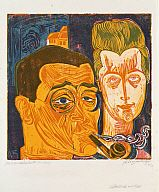 Conrad Felixmüller (German, 1897–1977)  Self-Portrait with Wife, 1920/21  Four-color woodcut  block: 15 7/8 x 15 3/4 in. (40.32 x 40.01 cm) sheet: 22 7/8 x 17 5/8 in. (58.1 x 44.77 cm) mat: 36 x 28 in. (91.44 x 71.12 cm)  Marcia and Granvil Specks Collection M2000.304   Photo credit Michael Tropea  © Artists Rights Society (ARS), New York / VG Bild-Kunst, Bonn