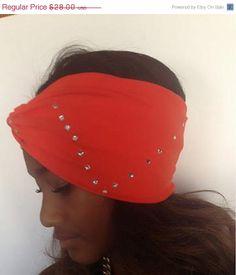 On Sale 15 Off Crystal Studded Orange Turban  by moviestarjewelry, $23.80