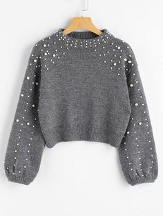 SHARE & Get it FREE | Faux Pearl Mock Neck Sweater - Gray MFor Fashion Lovers only:80,000+ Items • New Arrivals Daily Join Zaful: Get YOUR $50 NOW!